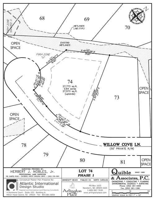 Arlington Place homesite 74 plat map.