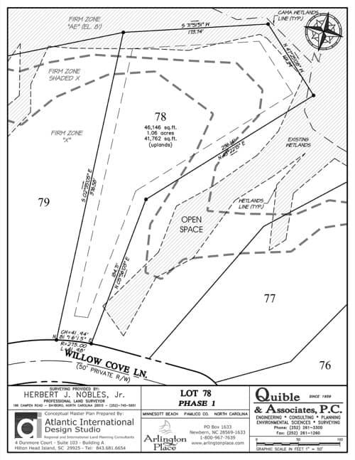 Arlington Place homesite 78 plat map.