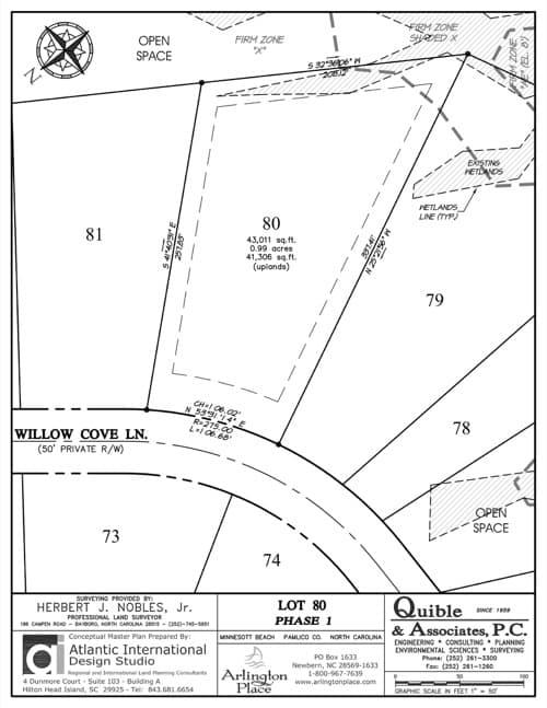 Arlington Place homesite 80 plat map.