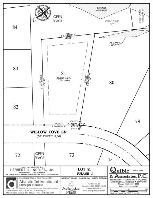 Arlington Place homesite 81 plat map.