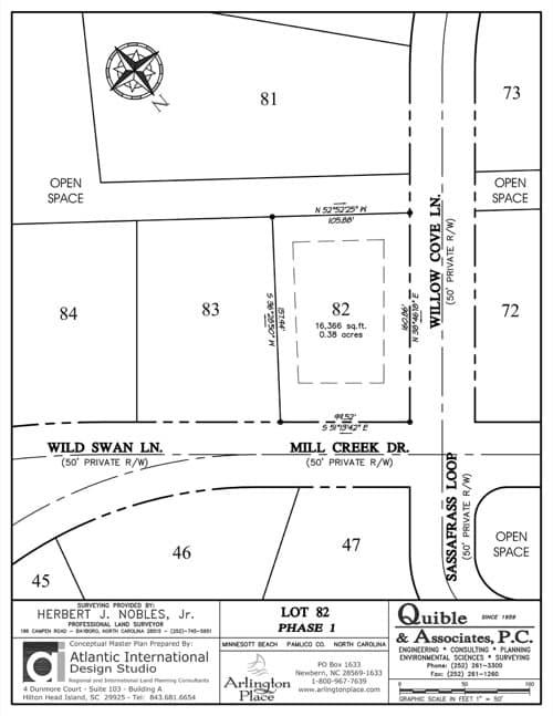 Arlington Place homesite 82 plat map.