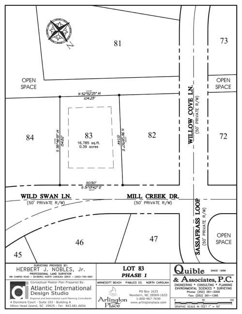 Arlington Place homesite 83 plat map.