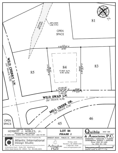 Arlington Place homesite 84 plat map.