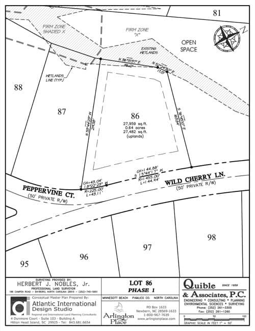 Arlington Place homesite 86 plat map.