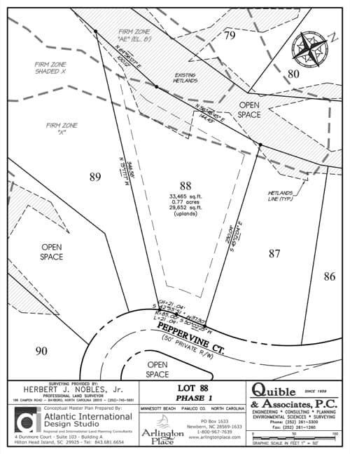 Arlington Place homesite 88 plat map.