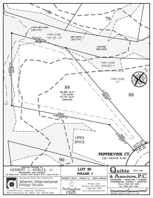Arlington Place homesite 89 plat map.