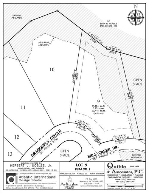 Arlington Place homesite 9 plat map.