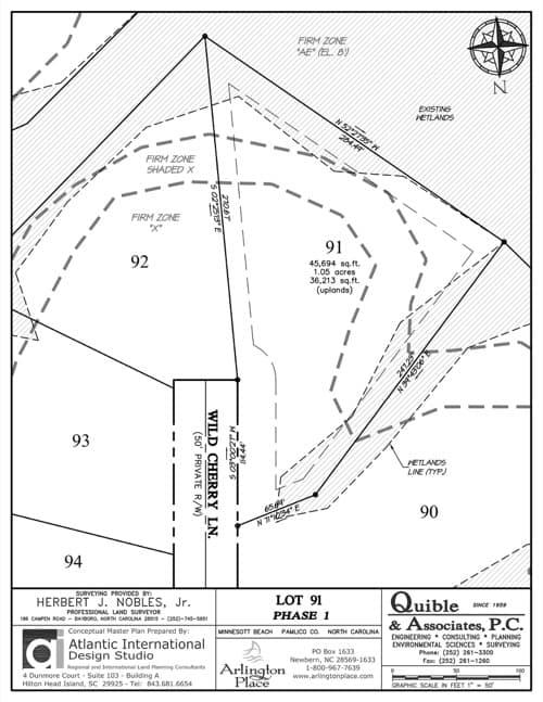 Arlington Place homesite 91 plat map.