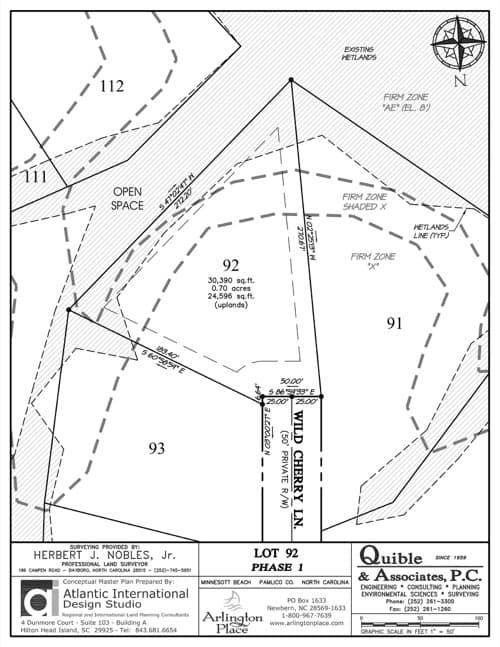 Arlington Place homesite 92 plat map.