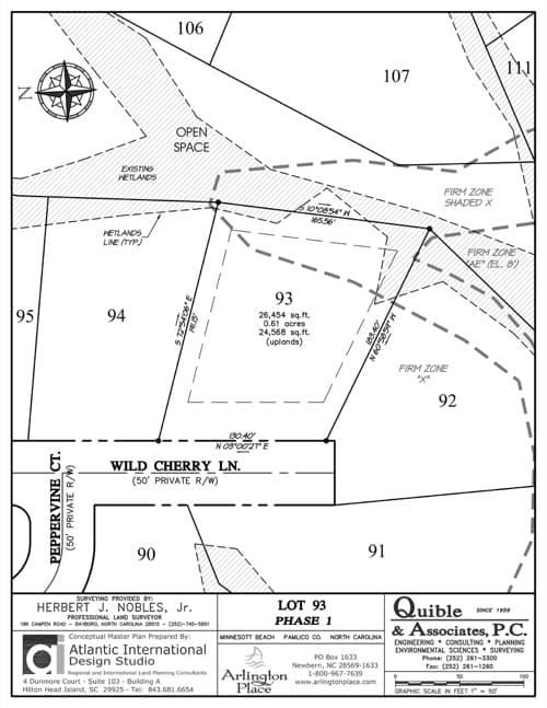 Arlington Place homesite 93 plat map.