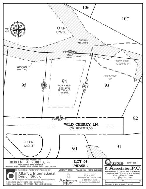 Arlington Place homesite 94 plat map.