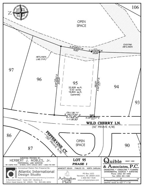 Arlington Place homesite 95 plat map.