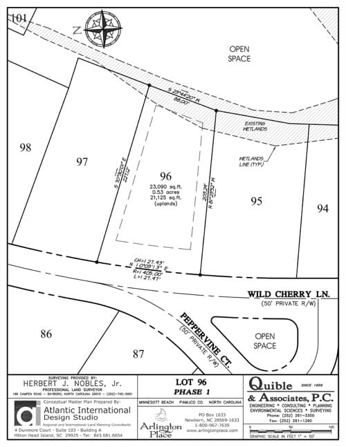 Arlington Place homesite 96 plat map.