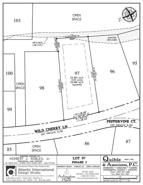 Arlington Place homesite 97 plat map.