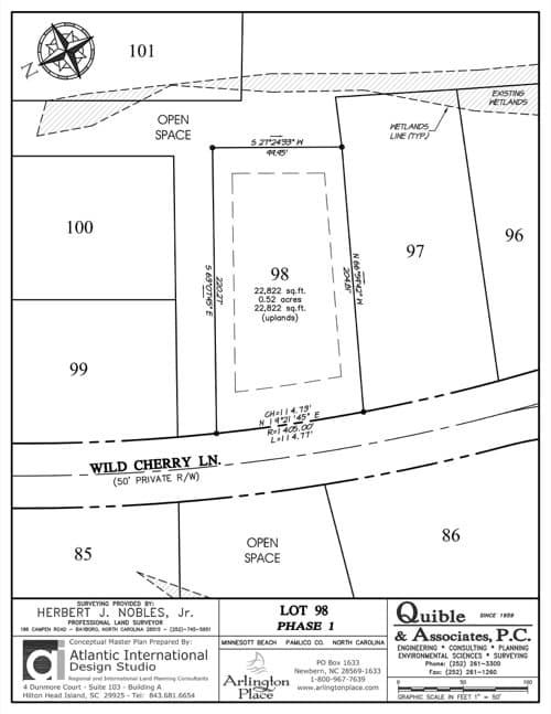 Arlington Place homesite 98 plat map.