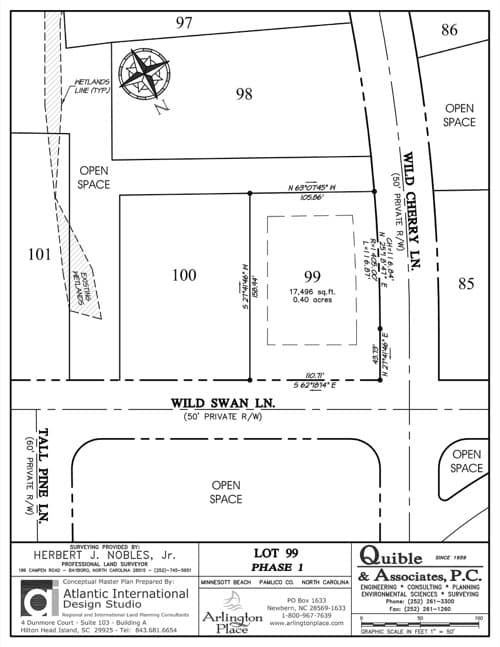 Arlington Place homesite 99 plat map.