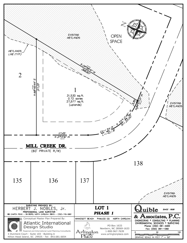 Arlington Place Homesite 1 property plat map image.