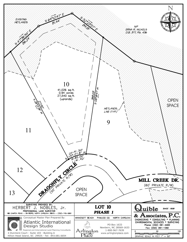 Arlington Place Homesite 10 property plat map image.