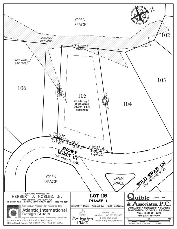 Arlington Place Homesite 105 property plat map image.