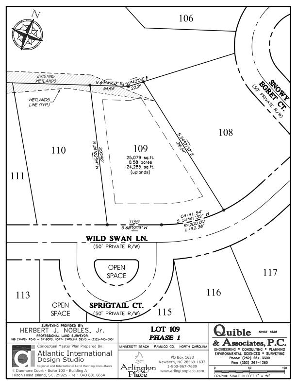 Arlington Place Homesite 109 property plat map image.