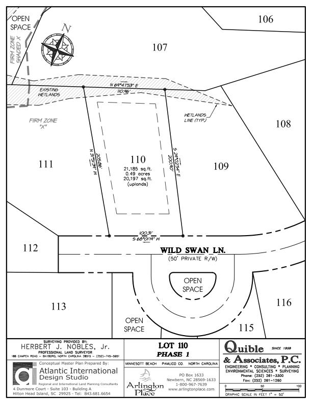 Arlington Place Homesite 110 property plat map image.