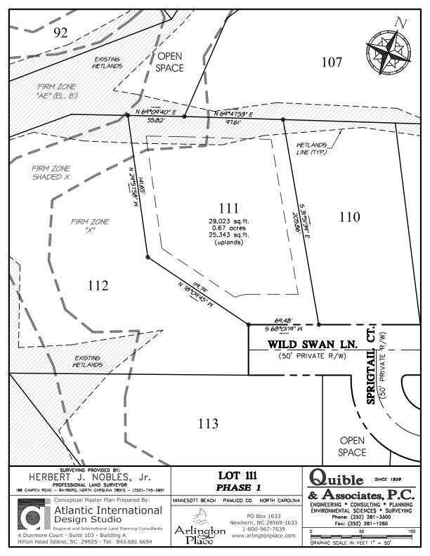 Arlington Place Homesite 111 property plat map image.