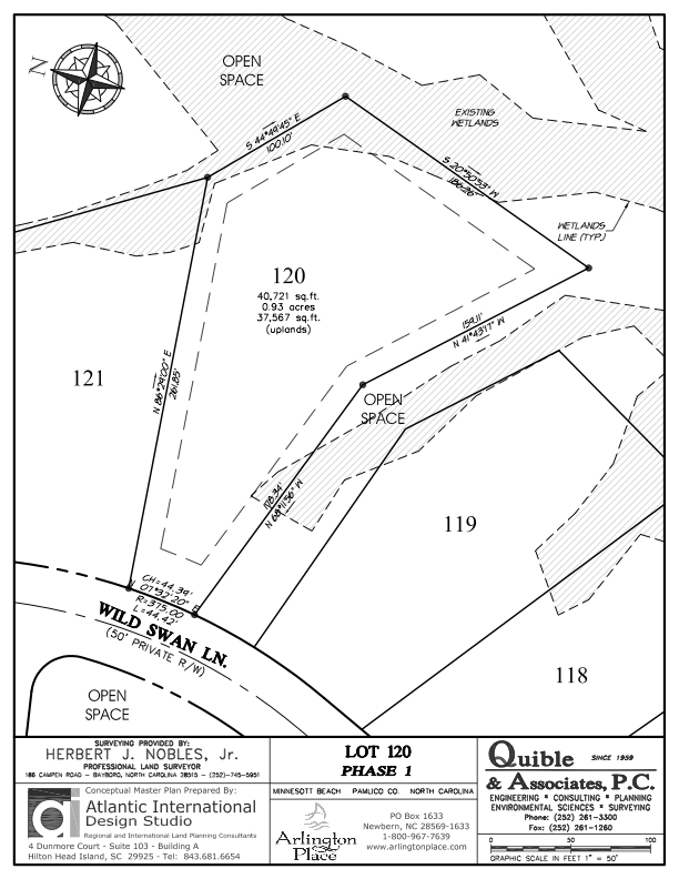 Arlington Place Homesite 120 property plat map image.