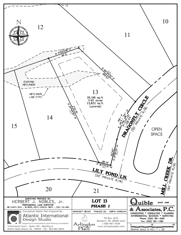 Arlington Place Homesite 13 property plat map image.