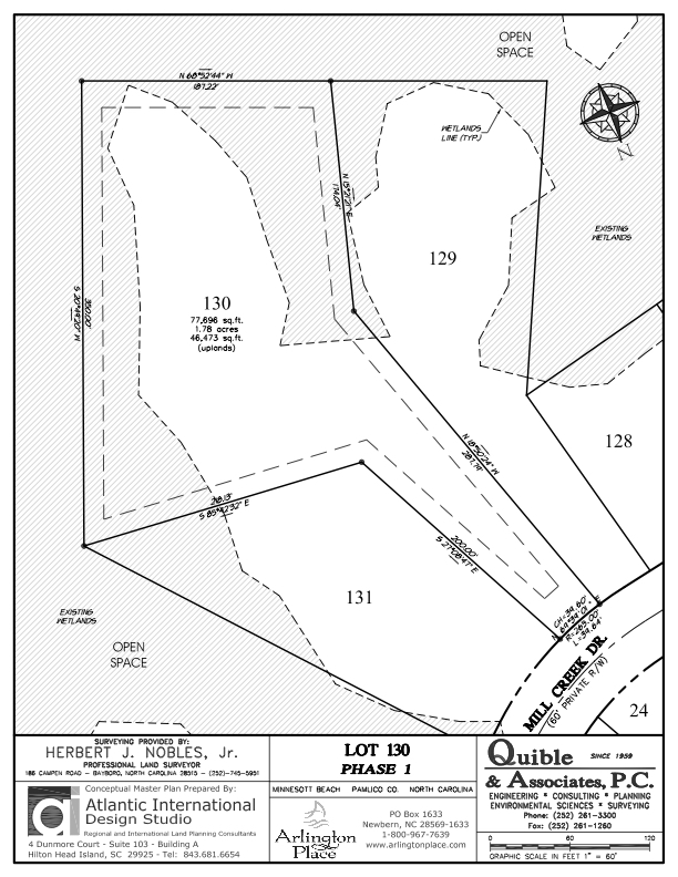 Arlington Place Homesite 130 property plat map image.