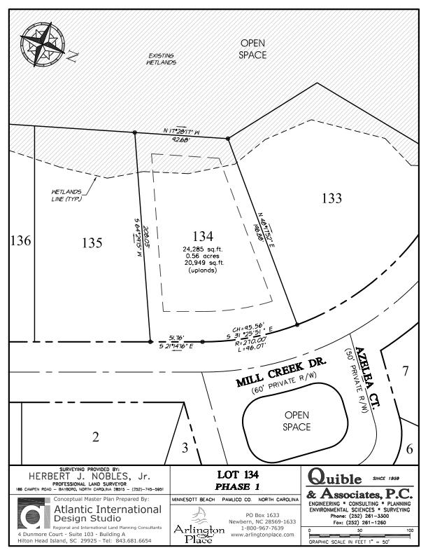 Arlington Place Homesite 134 property plat map image.