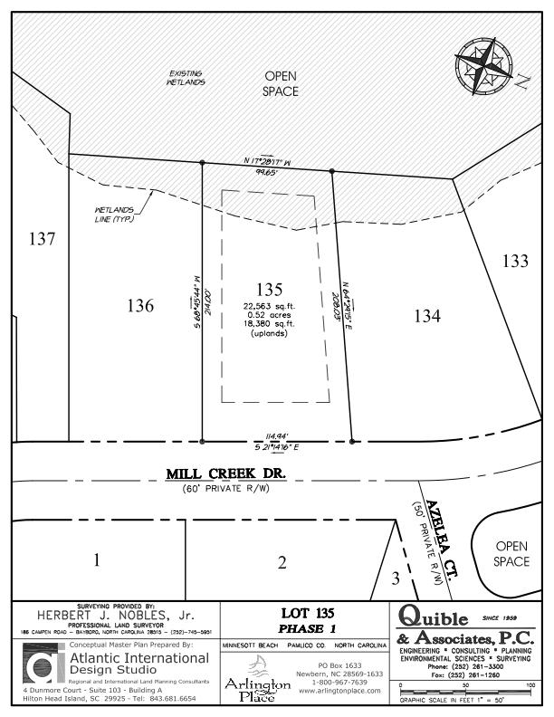 Arlington Place Homesite 135 property plat map image.