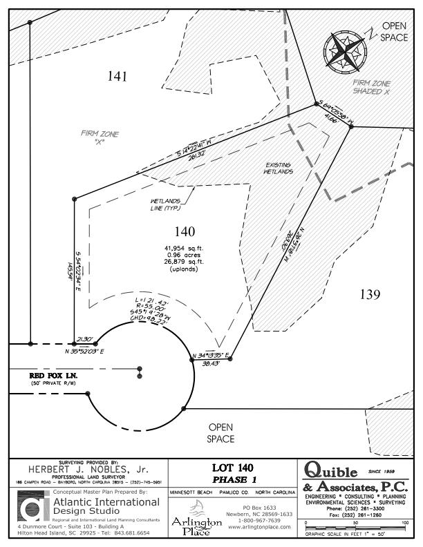Arlington Place Homesite 140 property plat map image.