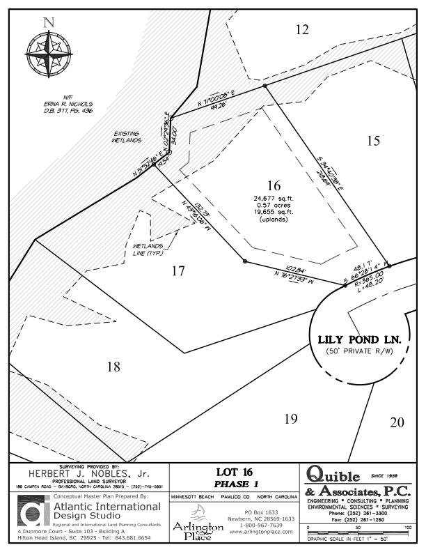 Arlington Place Homesite 16 property plat map image.