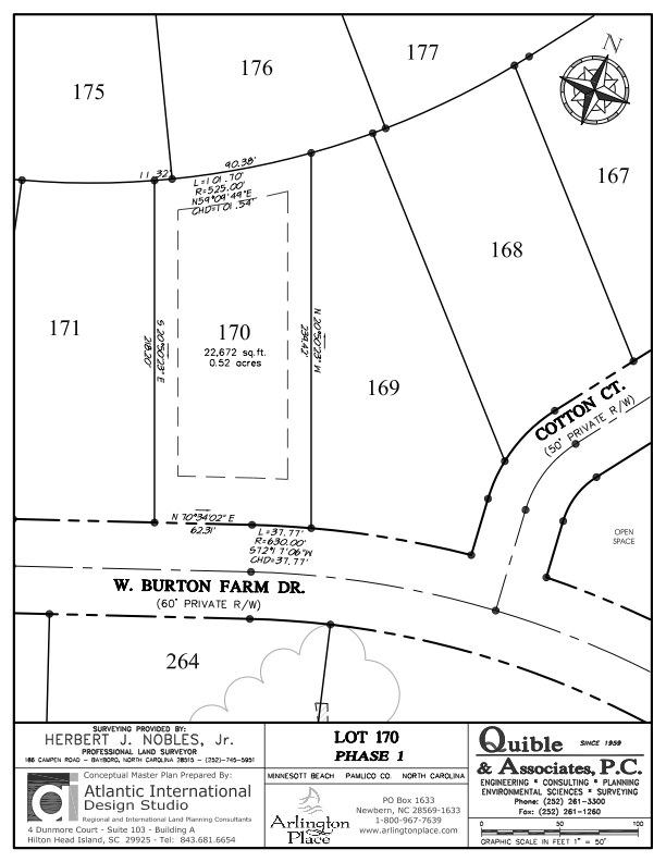 Arlington Place Homesite 170 property plat map image.