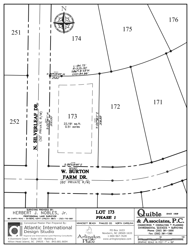 Arlington Place Homesite 173 property plat map image.
