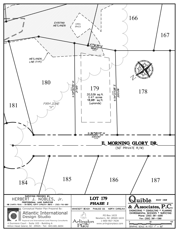 Arlington Place Homesite 179 property plat map image.