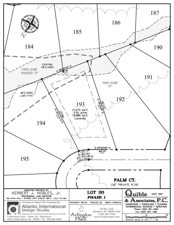 Arlington Place Homesite 193 property plat map image.