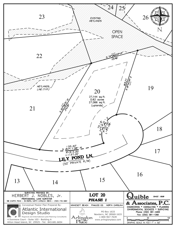 Arlington Place Homesite 20 property plat map image.