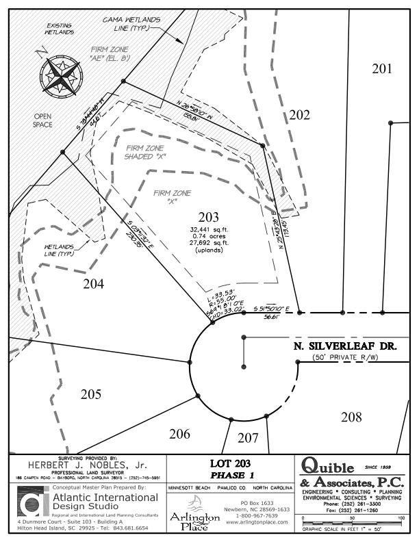 Arlington Place Homesite 203 property plat map image.