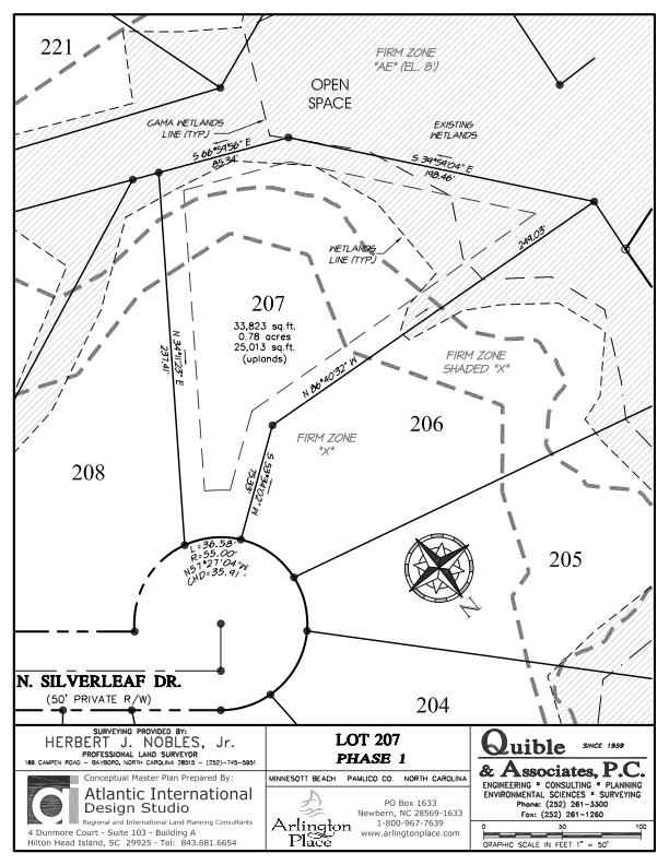 Arlington Place Homesite 207 property plat map image.