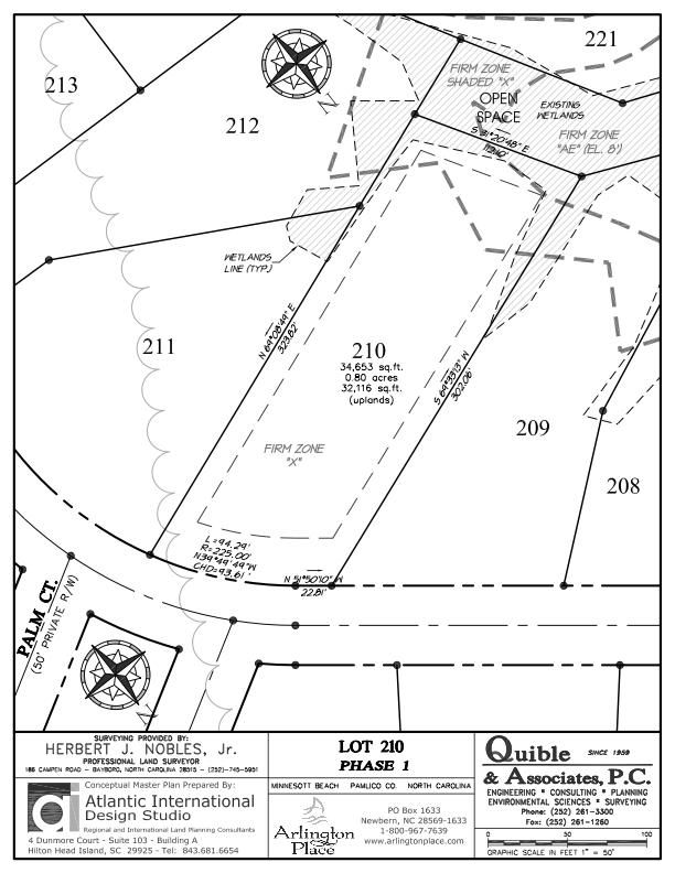 Arlington Place Homesite 210 property plat map image.