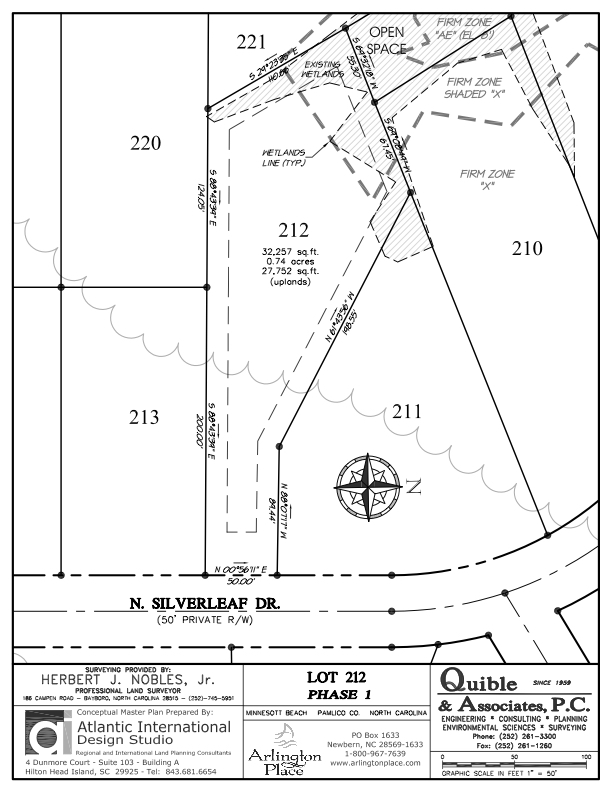 Arlington Place Homesite 212 property plat map image.