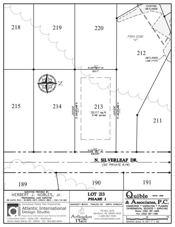 Arlington Place Homesite 213 property plat map image.