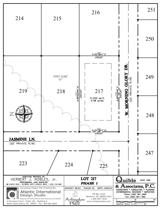 Arlington Place Homesite 217 property plat map image.