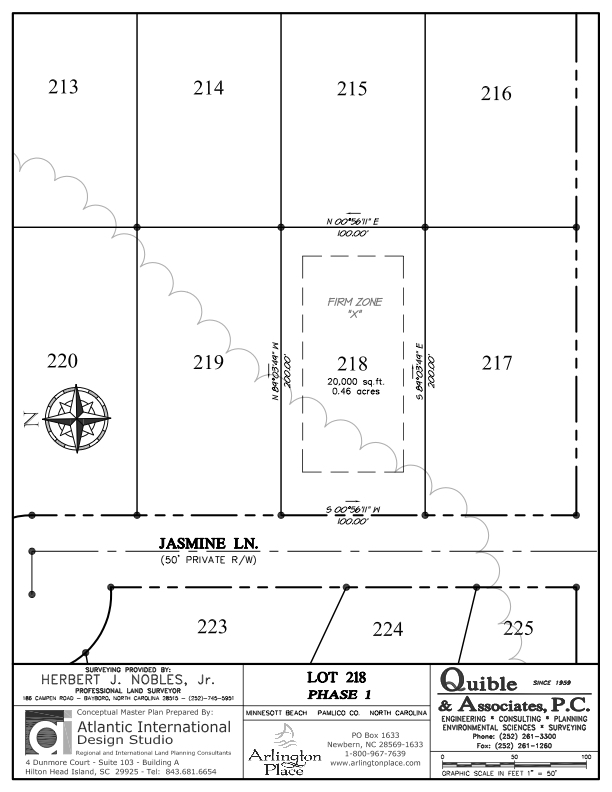 Arlington Place Homesite 218 property plat map image.