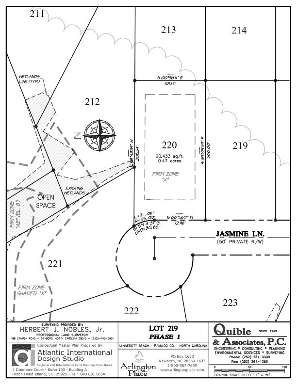Arlington Place Homesite 219 property plat map image.