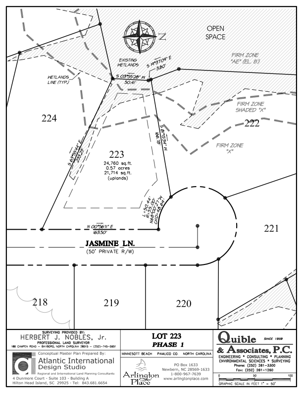 Arlington Place Homesite 223 property plat map image.