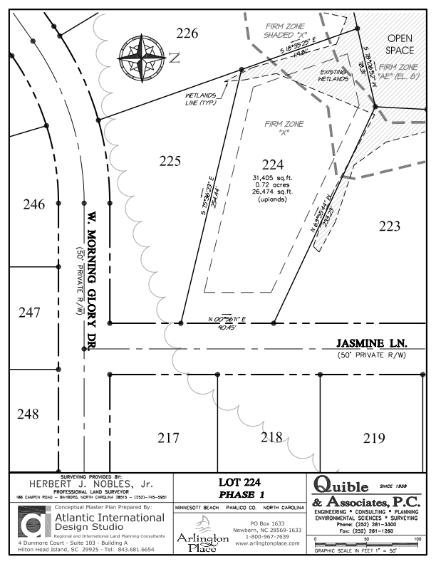 Arlington Place Homesite 224 property plat map image.