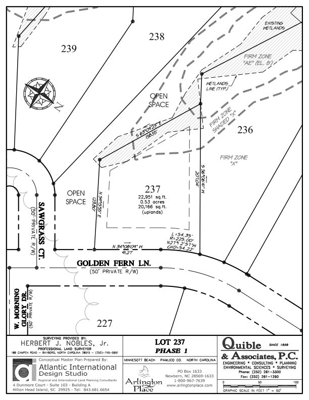 Arlington Place Homesite 237 property plat map image.