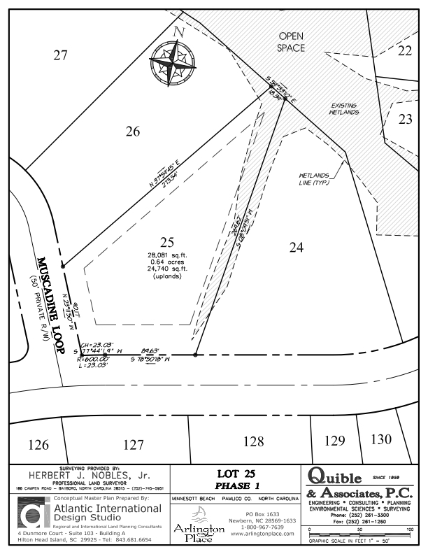 Arlington Place Homesite 25 property plat map image.